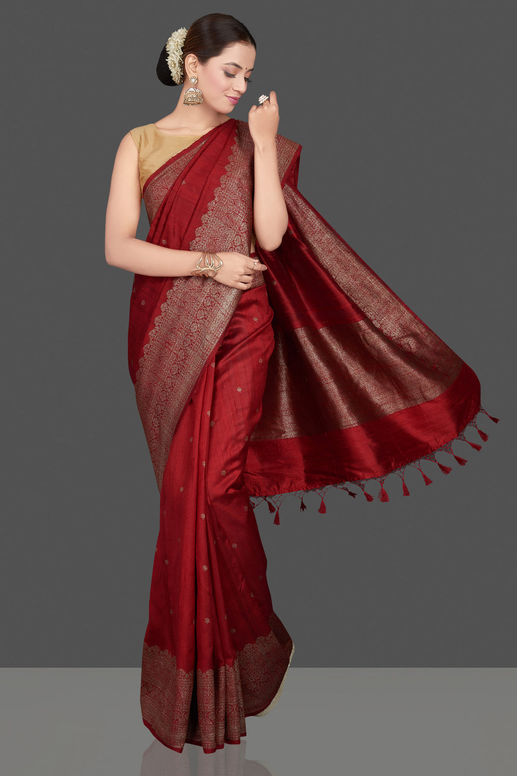 Shop beautiful maroon tussar Banarasi saree online in USA with antique zari border. Go for stunning Indian designer sarees, georgette sarees, handwoven saris, embroidered sarees for festive occasions and weddings from Pure Elegance Indian clothing store in USA.-full view
