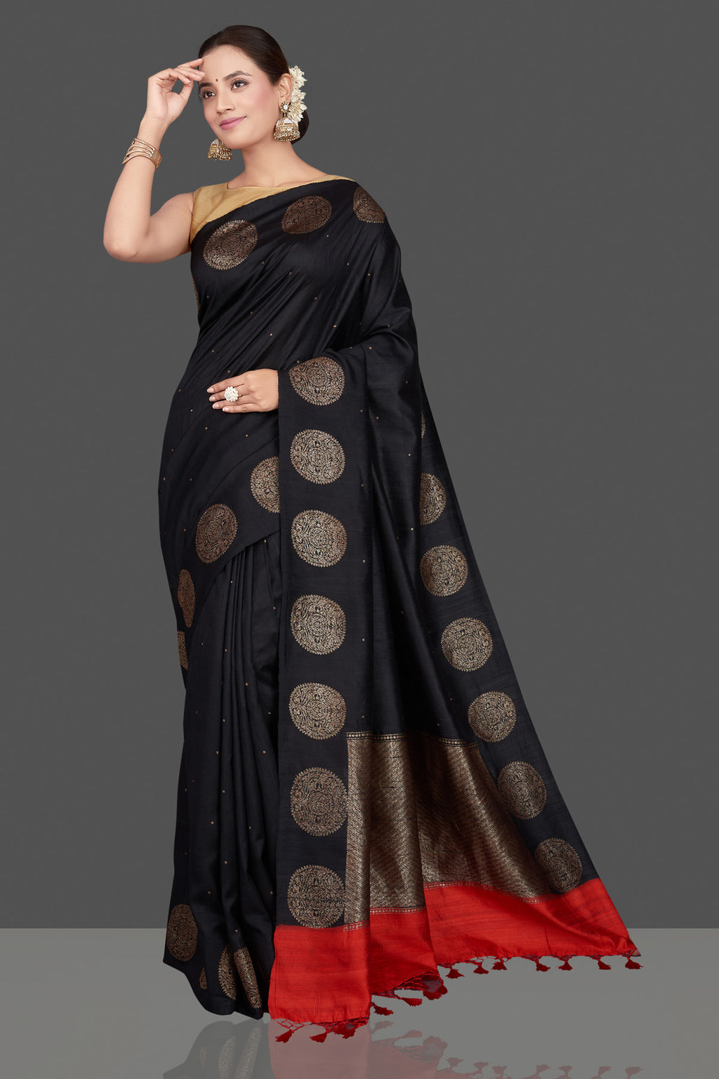 Buy ravishing black tussar Benarasi saree online in USA with antique zari buta border. Go for stunning Indian designer sarees, georgette sarees, handwoven saris, embroidered sarees for festive occasions and weddings from Pure Elegance Indian clothing store in USA.-full view