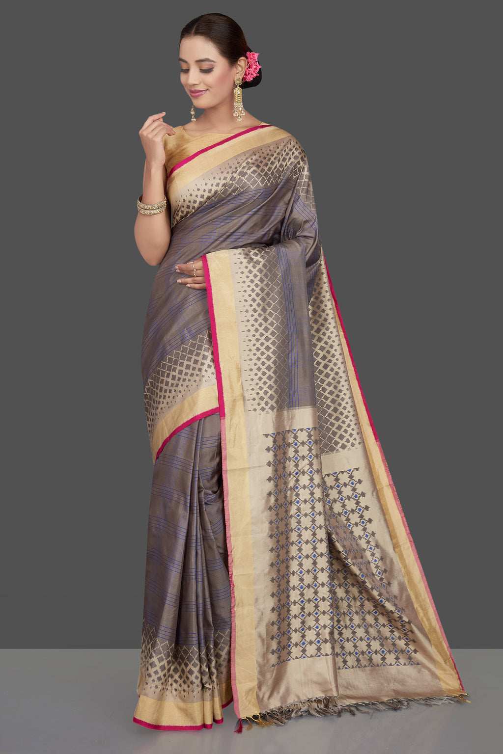 Buy grey and blue check ikkat silk sari online in USA with golden border. Get ready for festive occasions in exclusive silk sarees, ikkat saris, Kanchipuram silk saris, designer sarees from Pure Elegance Indian sarees store in USA.-full view