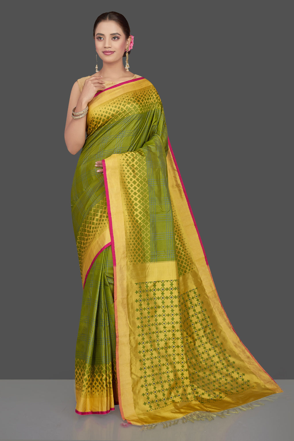 Buy beautiful mehendi green and blue check ikkat silk saree online in USA with golden border. Get ready for festive occasions in exclusive silk sarees, ikkat saris, Kanchipuram silk saris, designer sarees from Pure Elegance Indian sarees store in USA.-full view