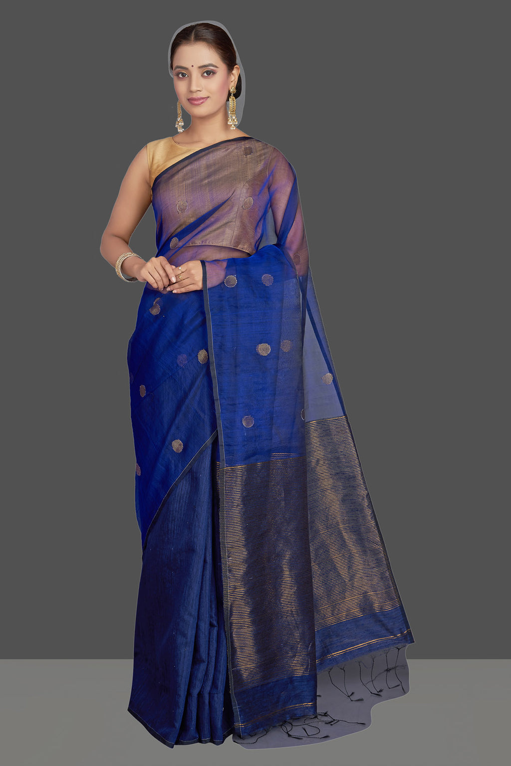 Shop gorgeous dark blue matka muslin saree online in USA with bali buti. Look gorgeous on special occasions with exquisite Indian sarees, handwoven sarees, Banarasi sarees, pure silk sarees from Pure Elegance Indian saree store in USA.-full view