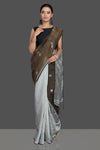Buy gorgeous brown and grey matka muslin saree online in USA with bali buti. Look gorgeous on special occasions with exquisite Indian sarees, handwoven saris, Banarasi sarees, pure silk saris from Pure Elegance Indian saree store in USA.-full view