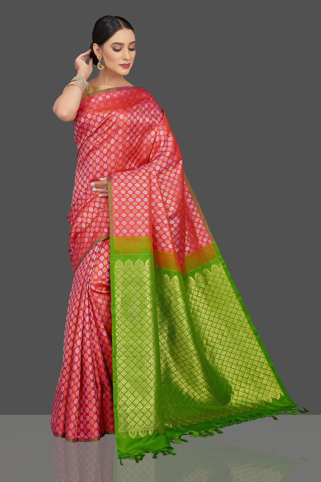 Shop gorgeous pink Kanjivaram sari online in USA with green zari pallu. Look beautiful on weddings and special occasions in stunning Kanchipuram saris, pure silk sarees, handwoven saris from Pure Elegance Indian fashion store in USA.-full view