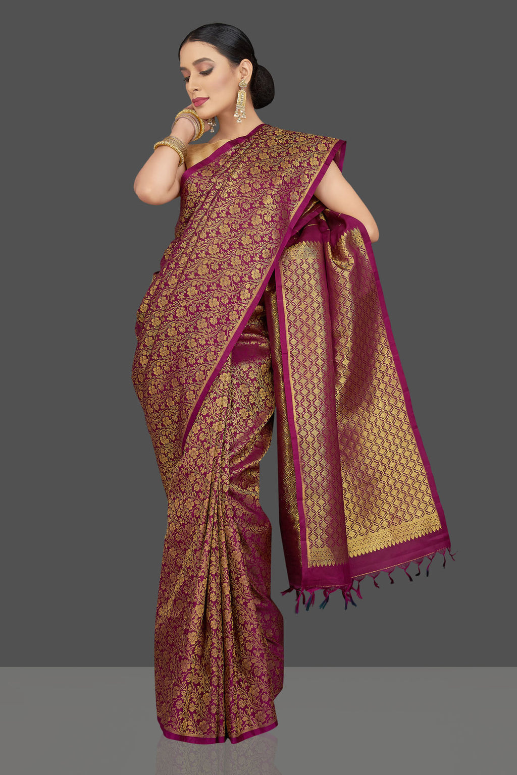 Buy stunning magenta Kanjivaram sari online in USA with overall zari work. Look beautiful on weddings and special occasions in stunning Kanchipuram saris, pure silk sarees, handwoven saris from Pure Elegance Indian fashion store in USA.-full view