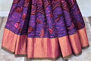 Buy stunning pink and purple Kalamkari Venkatgiri silk saree online in USA with zari border. Choose from an exclusive collection of printed sarees, pure silk sarees, handwoven sarees, zari work sarees, embroidered sarees from Pure Elegance Indian clothing store in USA.-pleats
