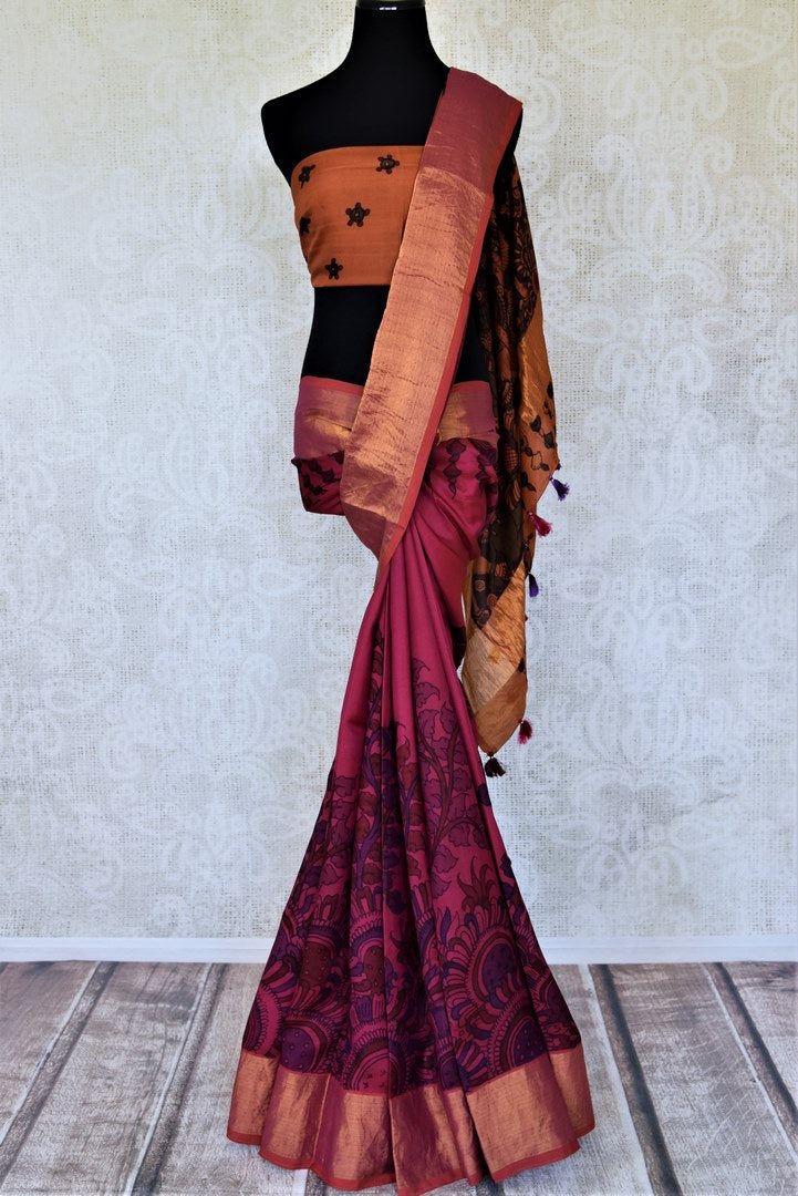 Buy gorgeous magenta Kalamkari Venkatgiri silk saree online in USA with zari border. Choose from an exclusive collection of printed sarees, pure silk sarees, handwoven sarees, zari work sarees, embroidered sarees from Pure Elegance Indian clothing store in USA.-full view