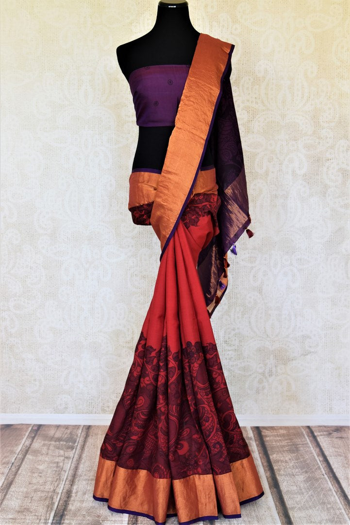 Shop beautiful red Kalamkari Venkatgiri silk saree online in USA with purple pallu. Choose from an exclusive collection of printed sarees, pure silk sarees, handwoven sarees, zari work sarees, embroidered sarees from Pure Elegance Indian clothing store in USA.-full view
