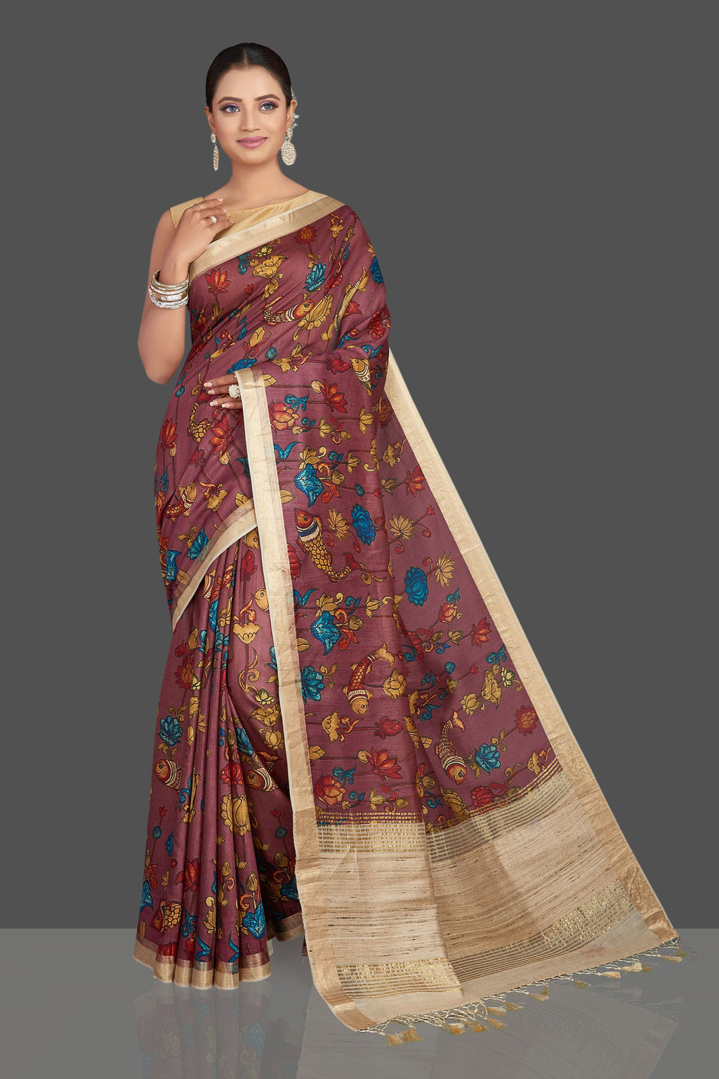 Buy stunning plum printed tussar Banarasi saree online in USA with beige pallu. Look your best on special occasions with stunning Banarasi saris, pure silk saris, tussar sarees, handwoven sarees from Pure Elegance Indian saree store in USA.-full view