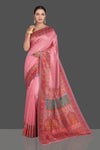 Shop stunning rose pink Kani weave tussar muga silk saree online in USA. Make your presence felt on special occasions in beautiful embroidered sarees, handwoven saris, pure silk saris, tussar sarees from Pure Elegance Indian saree store in USA.-full view