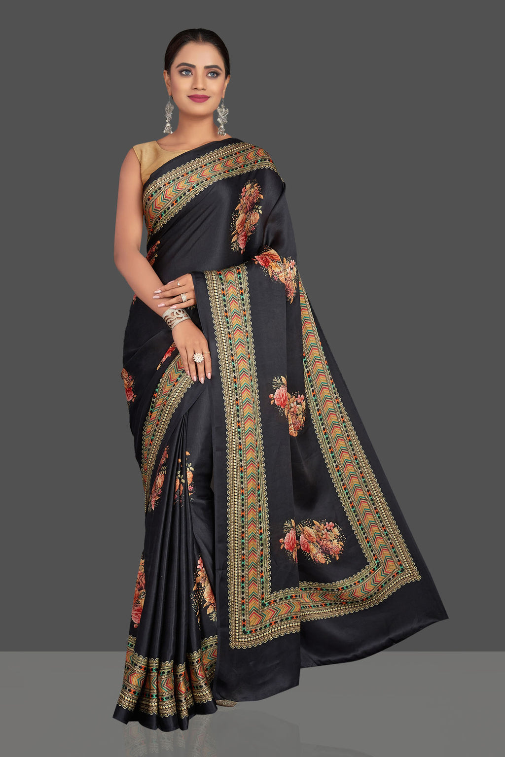 Shop beautiful black floral print satin crepe saree online in USA. Shop designer sarees, printed sarees, embroidered saris, crepe sarees in USA from Pure Elegance Indian fashion store in USA.-full view