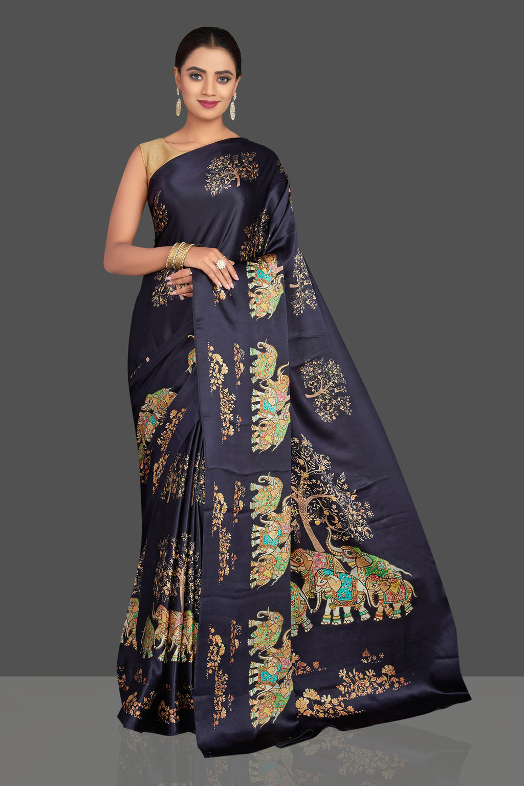 Shop beautiful navy blue printed satin crepe sari online in USA. Shop designer sarees, printed sarees, embroidered saris, crepe sarees in USA from Pure Elegance Indian fashion store in USA.-full view