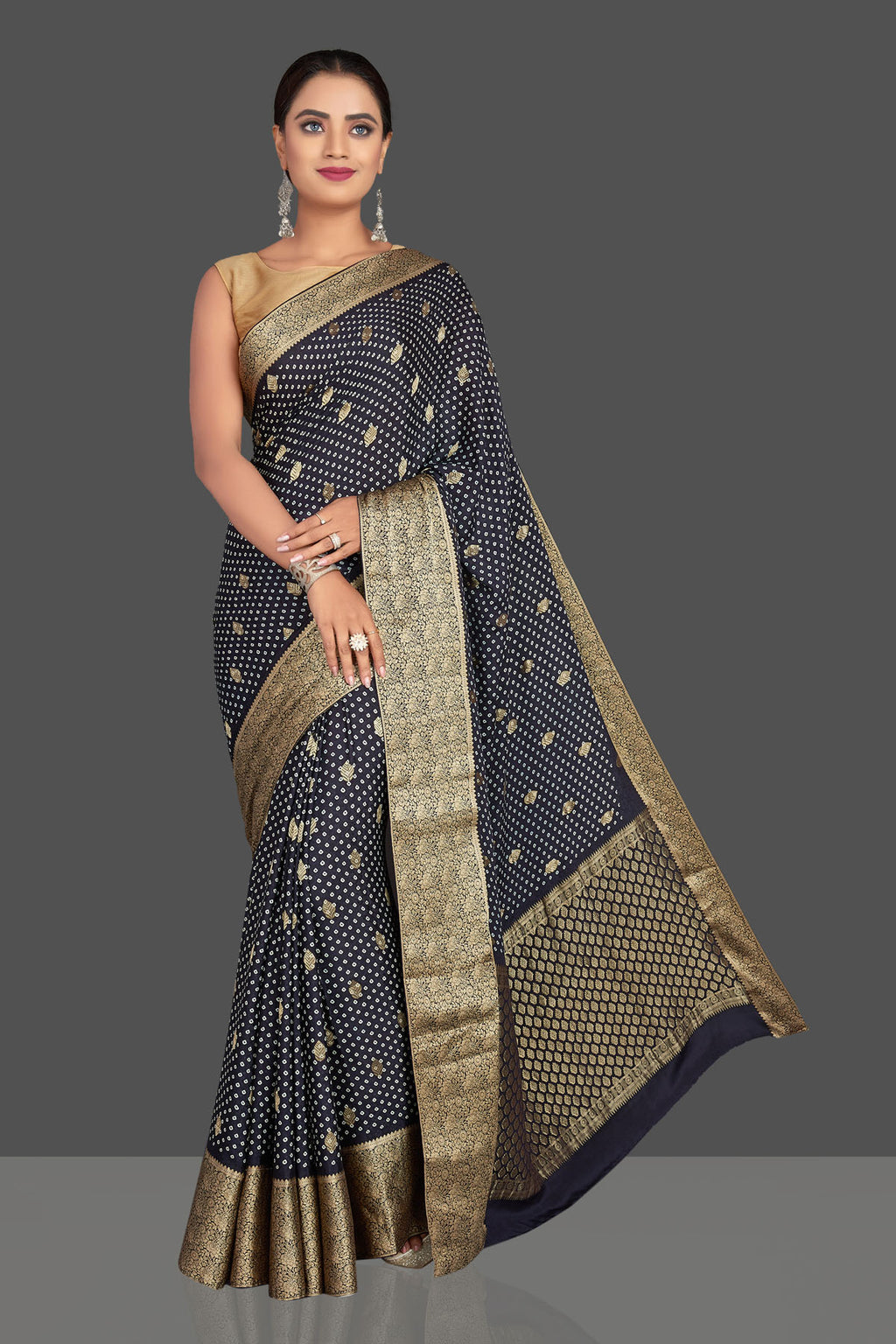 Shop stunning navy blue crepe Banarasi saree online in USA with bandhej print. Shop designer sarees, printed sarees, embroidered sarees, crepe sarees in USA from Pure Elegance Indian fashion store in USA.-full view