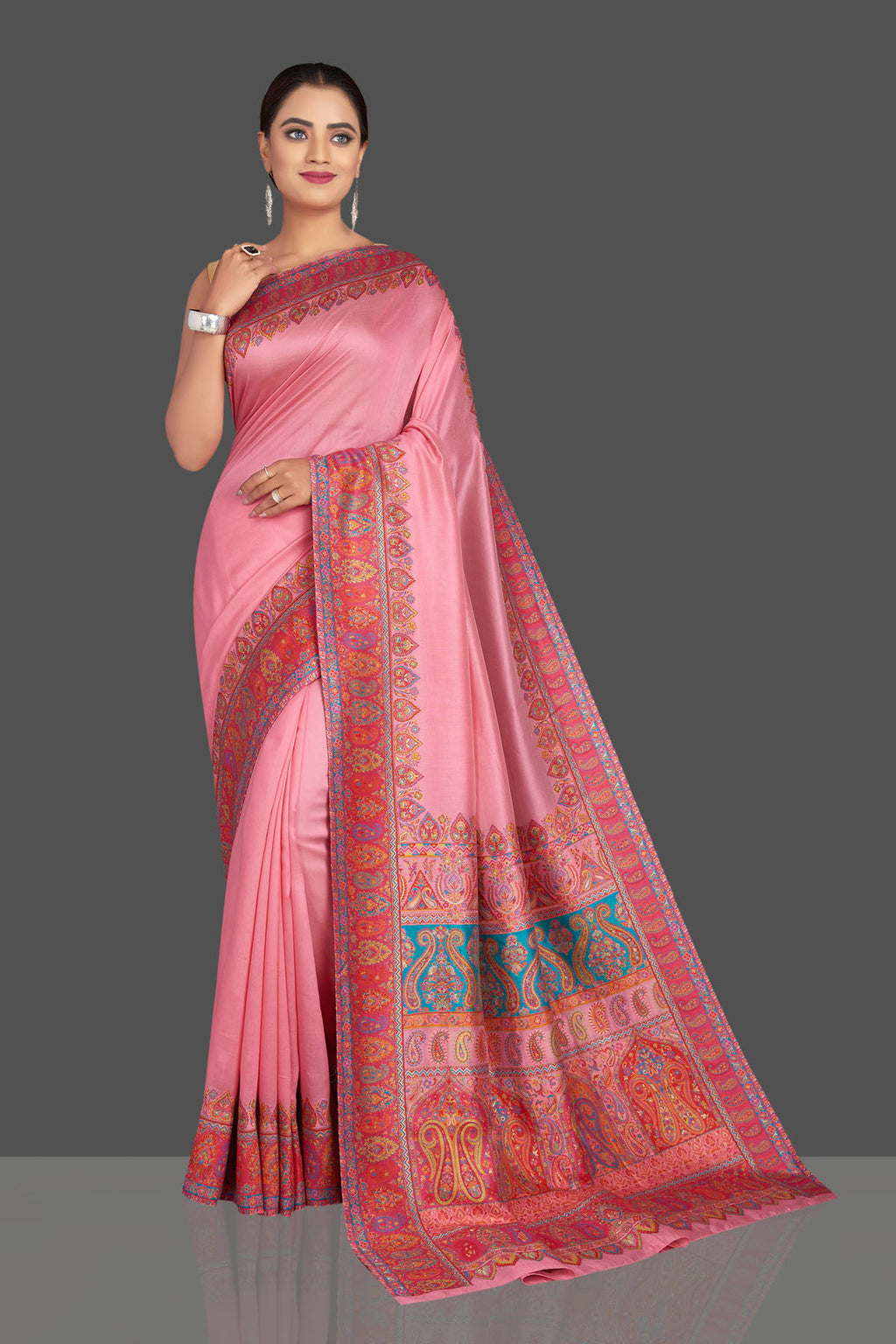 Shop stunning light pink Kani weave tussar muga saree online in USA. Shop designer sarees, printed sarees, embroidered sarees, crepe sarees in USA from Pure Elegance Indian fashion store in USA.-full view