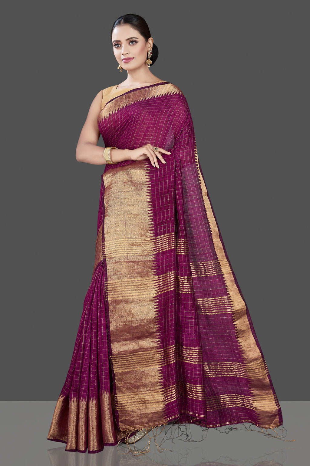 Shop beautiful plum check matka silk saree online in USA with golden zari border. Be the talk of the occasion in exquisite designer sarees, pure silk sarees, tussar saris, embroidered sarees, handloom sarees from Pure Elegance Indian fashion store in USA.-full view