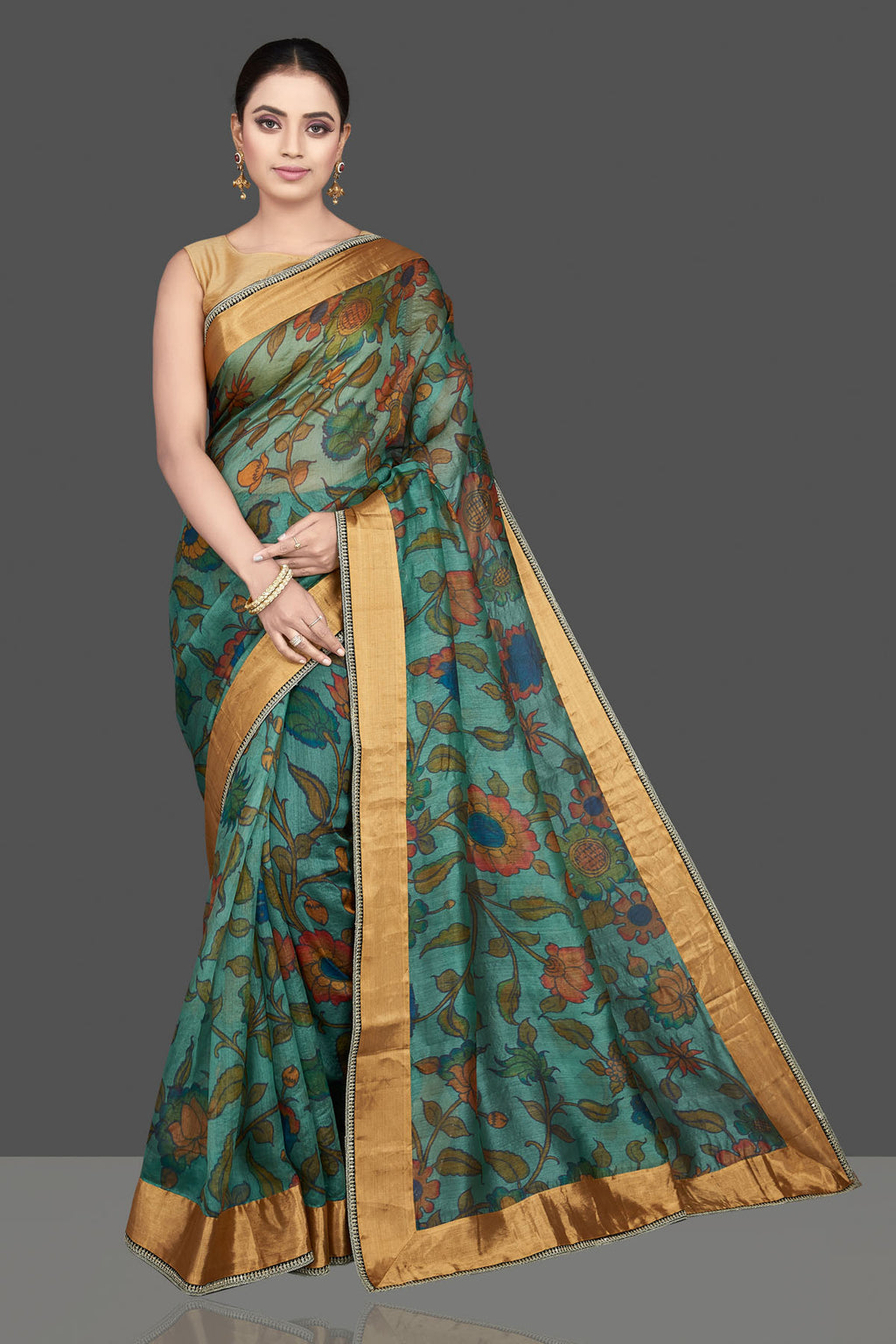 90L067 Green Kalamkari Print Silk Sari with Embroidered Golden Border