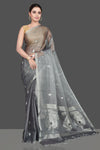 Shop stunning grey tissue silk sari online in USA with silver zari buta. Be the highlight of the occasion in beautiful pure silk saree, designer saris, handloom sarees, embroidered sarees, Kanchipuram sarees, Banarasi sarees from Pure Elegance Indian saree store in USA.-full view