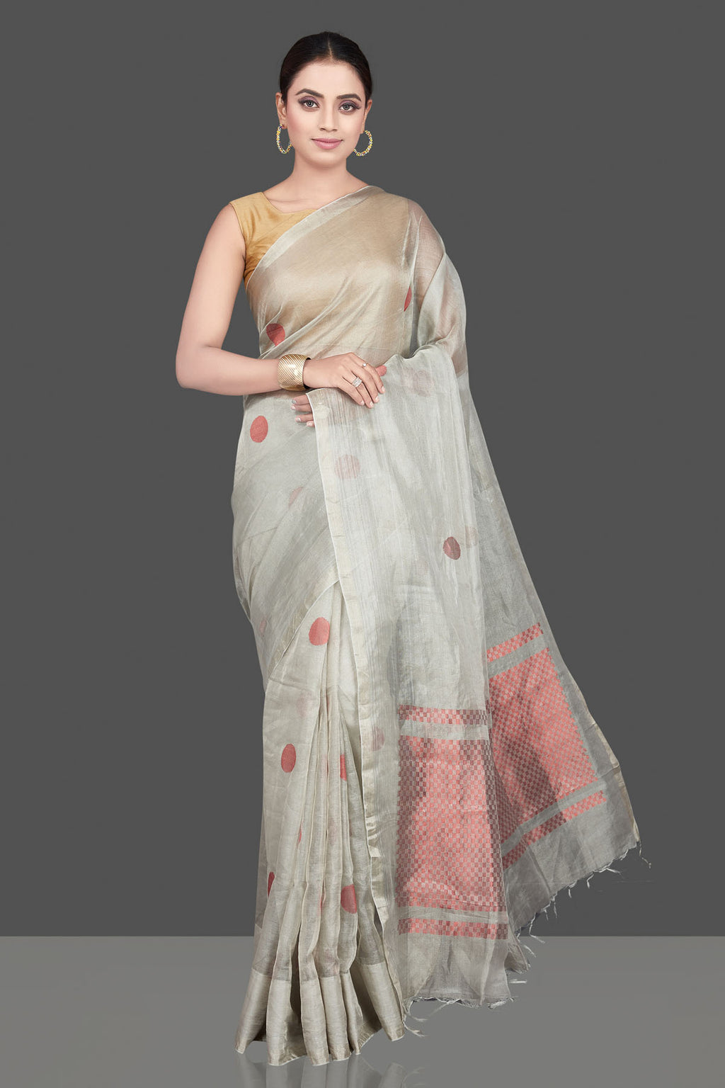 Buy stunning light grey tissue silk saree online in USA with red buta. Be the highlight of the occasion in beautiful pure silk saree, designer saris, handloom sarees, embroidered sarees, Kanchipuram sarees, Banarasi sarees from Pure Elegance Indian saree store in USA.-full view