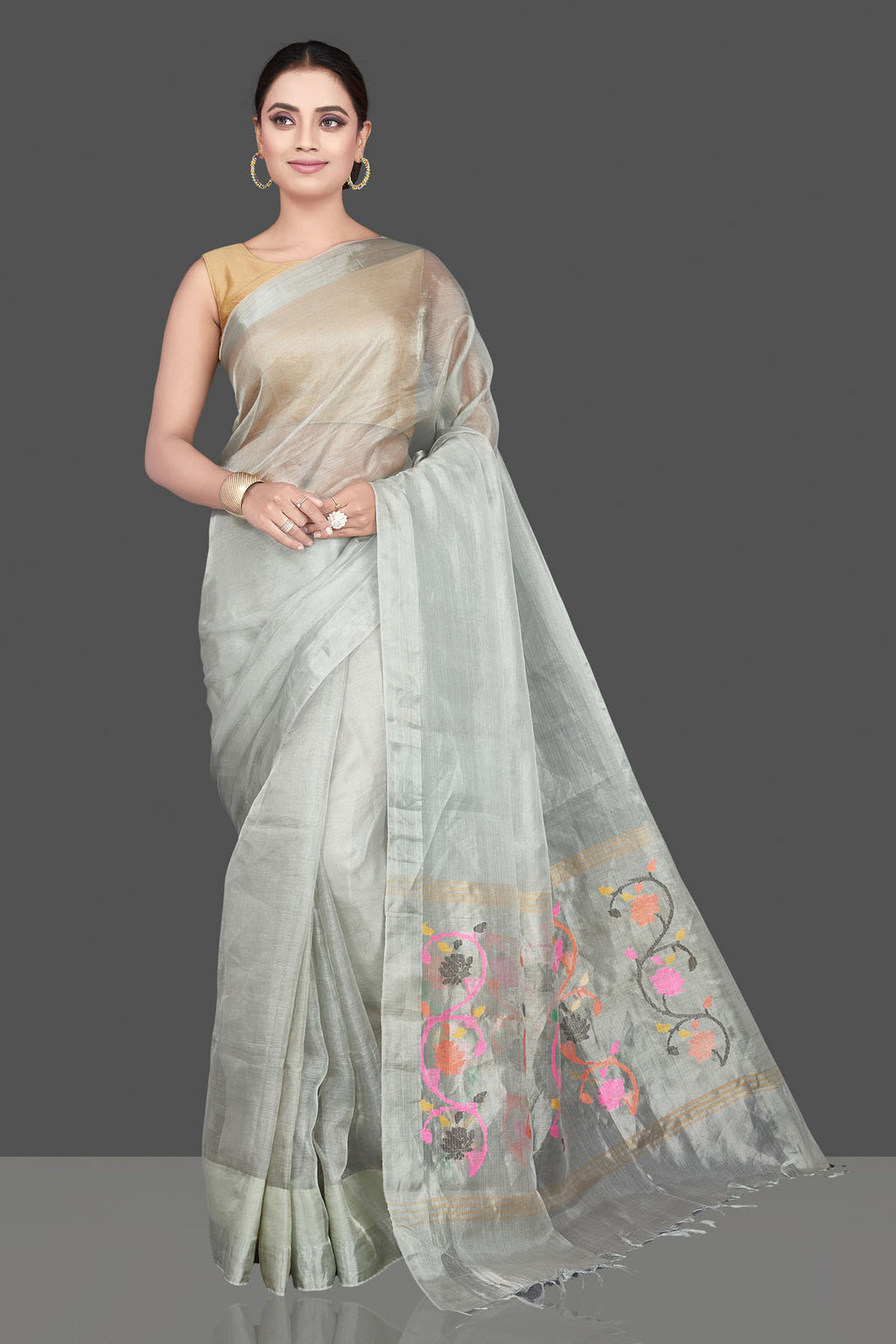 Shop stunning light grey tissue silk sari online in USA with weave pallu. Be the highlight of the occasion in beautiful pure silk saree, designer saris, handloom sarees, embroidered sarees, Kanchipuram sarees, Banarasi sarees from Pure Elegance Indian saree store in USA.-full view