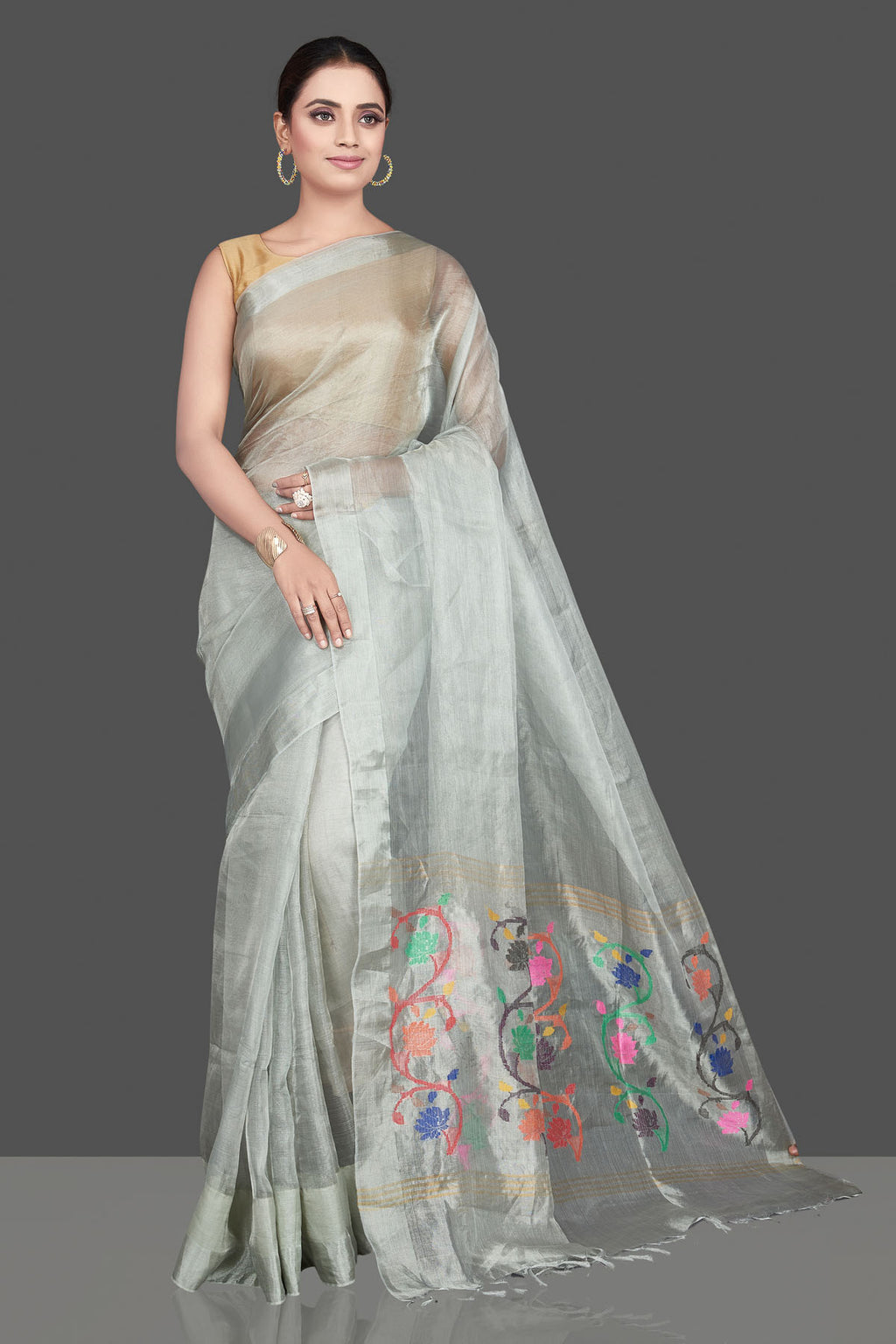 Buy stunning light grey tissue silk saree online in USA with weave pallu. Be the highlight of the occasion in beautiful pure silk saree, designer saris, handloom sarees, embroidered sarees, Kanchipuram sarees, Banarasi saris from Pure Elegance Indian saree store in USA.-full view