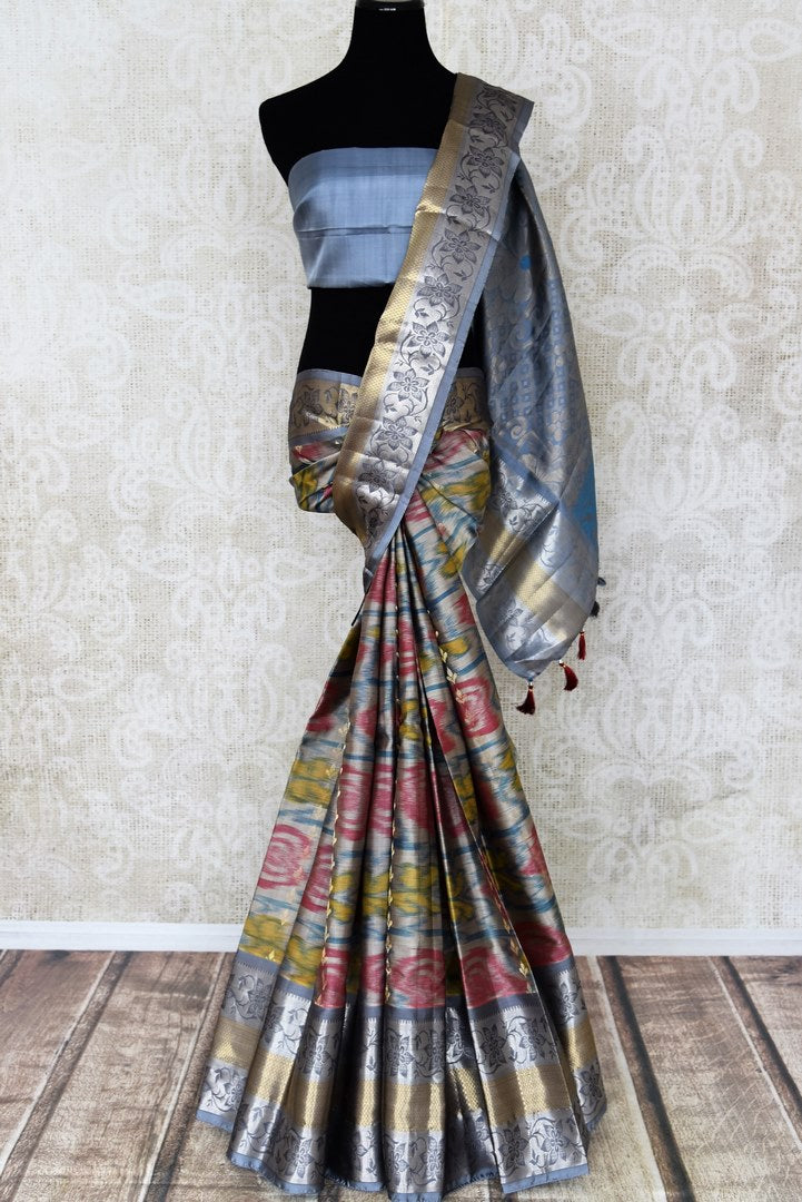 Shop stunning blue Kanji ikkat saree online in USA with zari work. Look attractive on special occasions in the beautiful silk sarees, designer saris, embroidered saris, handwoven saris from Pure Elegance Indian fashion store in USA.-full view