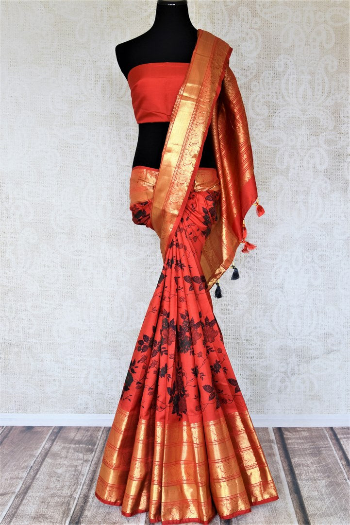 Buy beautiful red Gadhwal silk printed saree online in USA with golden zari border. Look attractive on special occasions in the beautiful silk sarees, designer saris, embroidered sarees, handwoven saris from Pure Elegance Indian fashion store in USA.-full view
