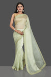 Shop beautiful mint green Bandhej print organza silk sari online in USA with embroidered border. Be the center of attraction at weddings and special occasions in exquisite designer sarees, handwoven silk saris, embroidered saris, pure silk sarees from Pure Elegance Indian fashion store in USA.-full view