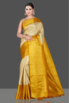 Shop beautiful beige Kanchipuram sari online in USA with yellow zari border. Go for a rich traditional look at weddings and festive occasions in exclusive Kanchipuram silk sarees. south silk sarees, handloom silk sarees, Banarasi saris from Pure Elegance Indian fashion store in USA.-full view