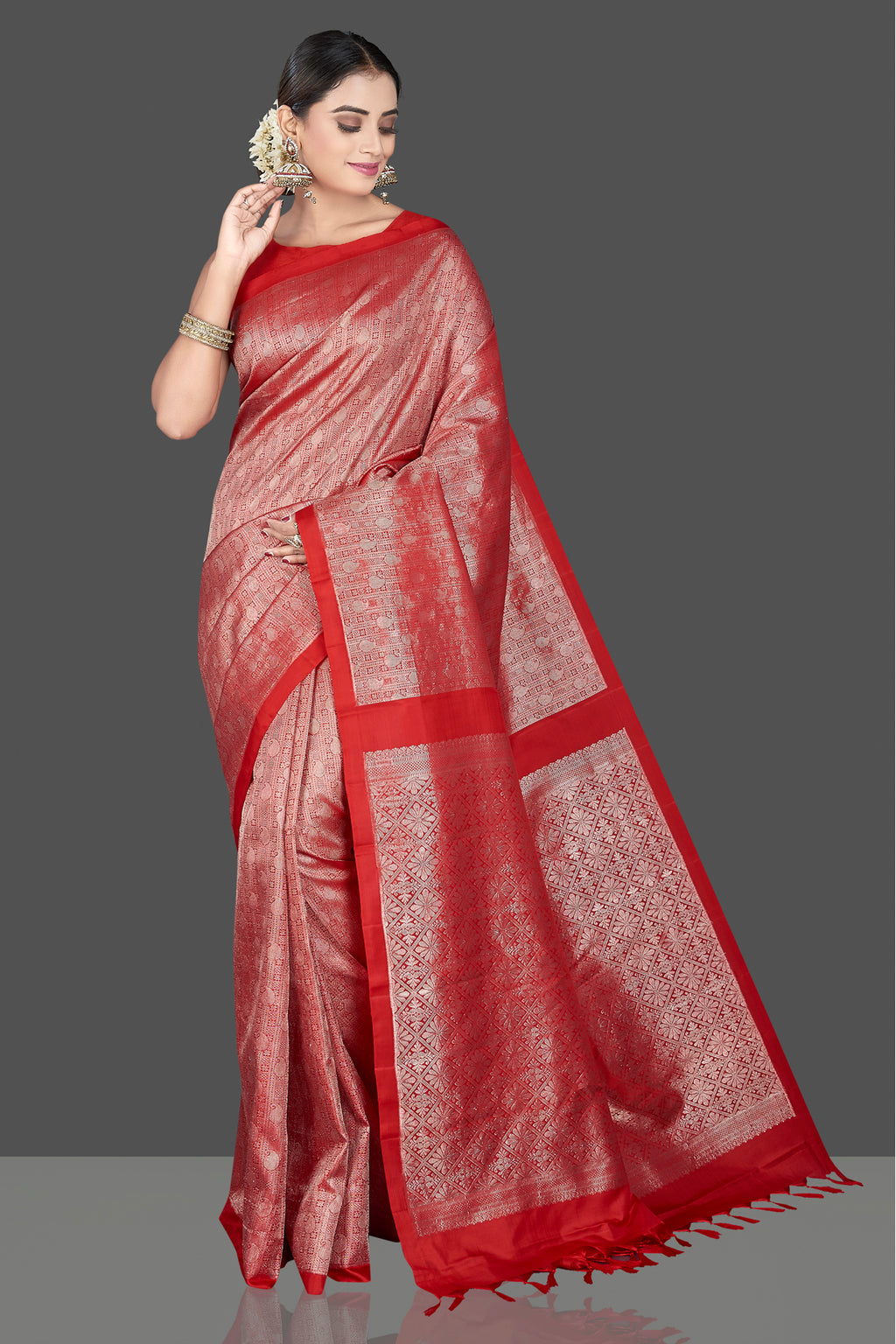 Shop stunning red Kanchipuram saree online in USA with overall zari work. Go for a rich traditional look at weddings and festive occasions in exclusive Kanchipuram silk sarees. south silk sarees, handloom silk sarees, Banarasi saris from Pure Elegance Indian fashion store in USA.-full view