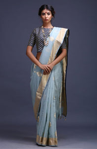 90Z000-RO Soft Blue Maheshwari Silk Saree With Pre-Stitched Embroidered Blouse