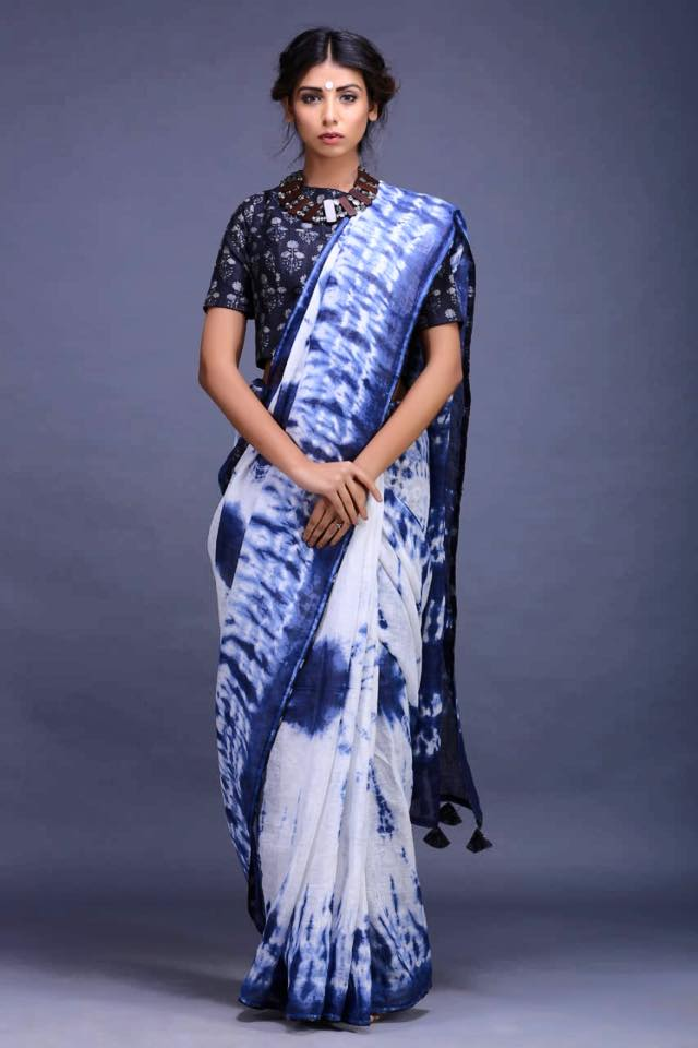 Buy stunning linen saree online in USA with pre-stitched blouse. Shop beautiful handwoven Indian saris, Mahehwari sarees, Chanderi sarees, pure silk sarees in USA from Pure Elegance Indian fashion store in USA.-full view