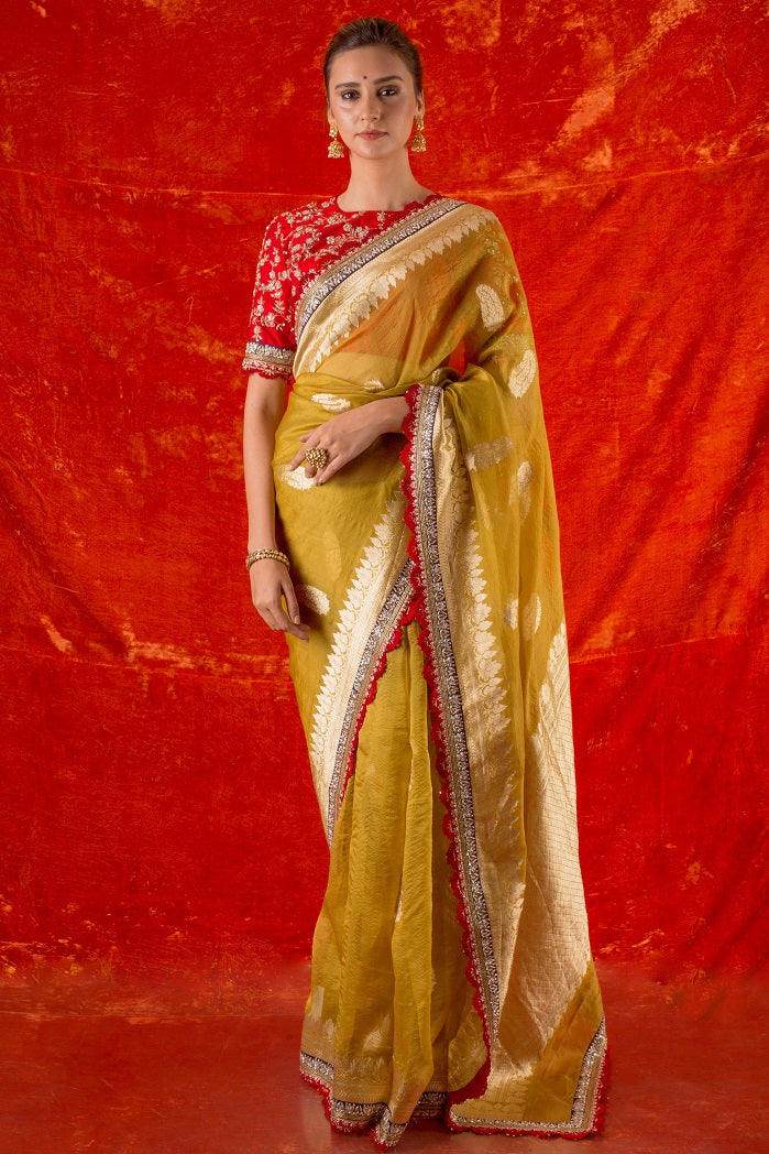 Buy mustard yellow embroidered handloom saree online in USA. Saree has fine heavy embroidery with buta design and simple red-blue border with golden prited design. Comes with red heavy blouse. Be the talk of parties, wedding with exquisite designer sarees from Pure Elegance Indian clothing store in USA.Shop online now.-full view