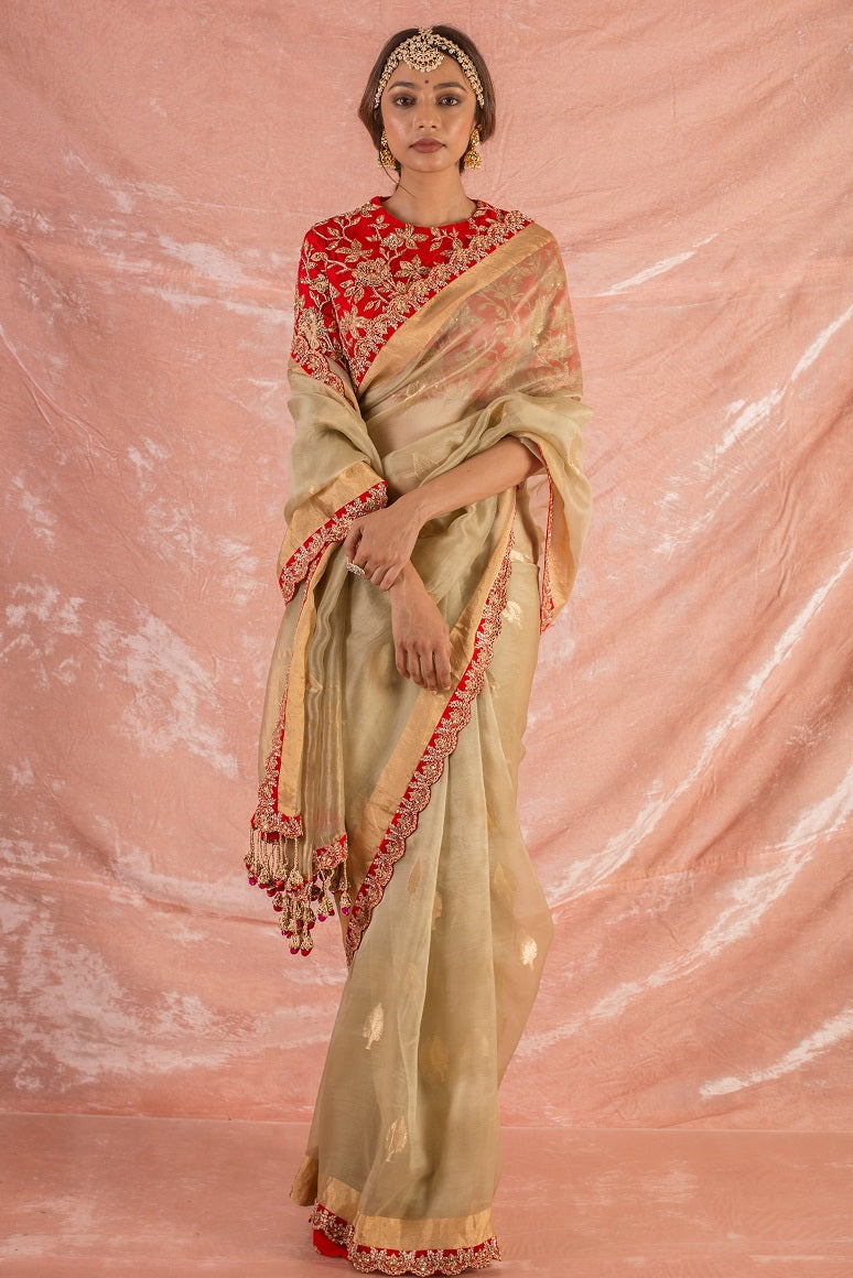Buy plain gold embroidered handloom saree online in USA. Saree has fine work and heavy red border with golden design. Red blouse has heavy golden embroidery work and its of elbow length. Be the talk of parties and weddings with exquisite designer sarees from Pure Elegance Indian clothing store in USA.Shop online now.-full view