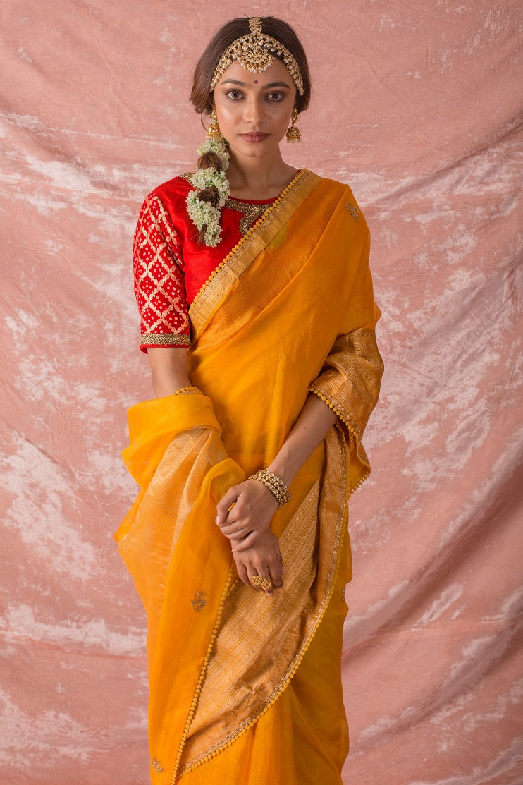 Yellow Embroidered Handloom Saree with Blouse Online in USA-full view