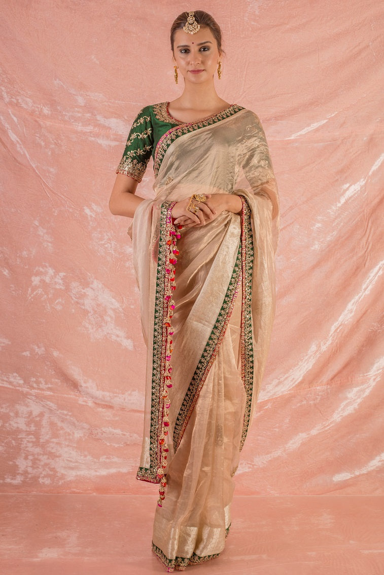 Gold Embroidered Handloom Saree with Blouse Online in USA-full view