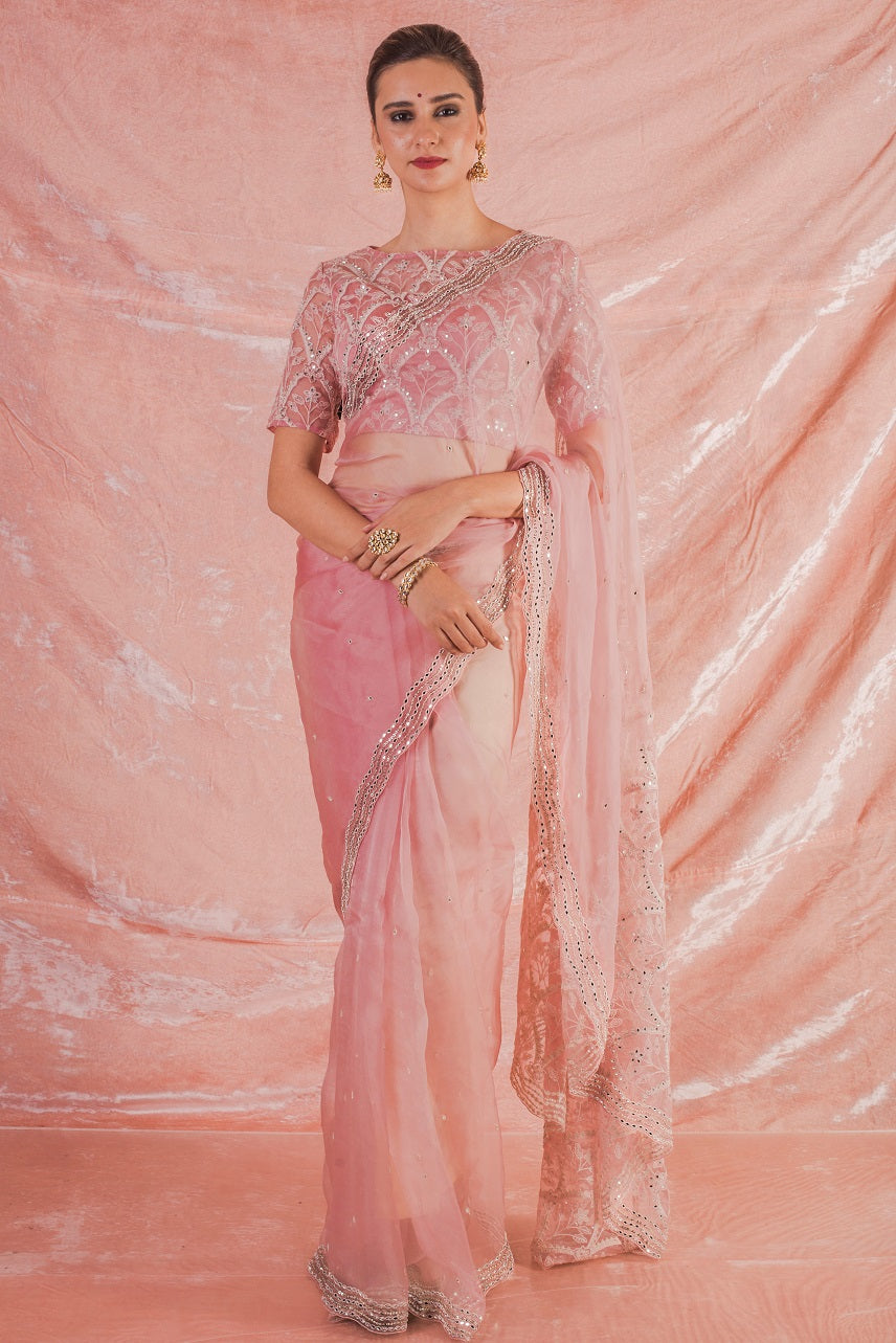 Baby Pink Embroidered Organza Saree with Blouse Online in USA-full view