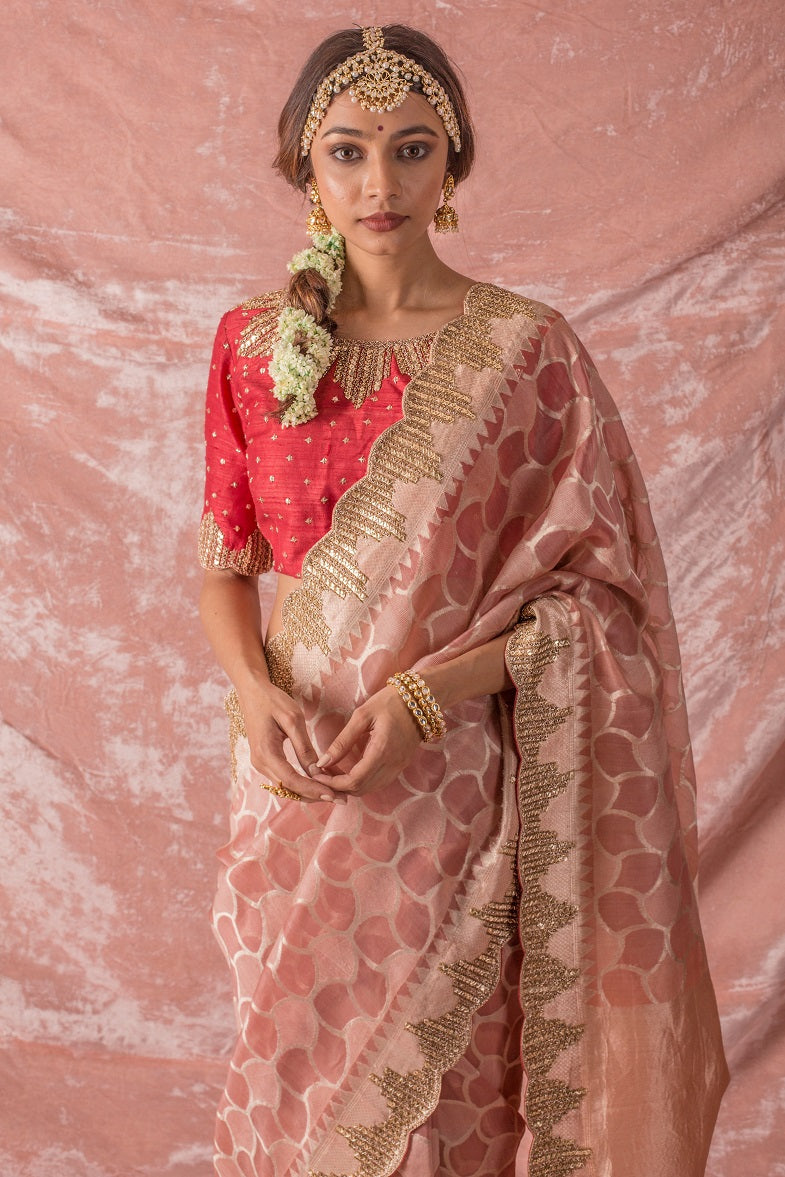 Pastel Pink Embroidered Handloom Saree with Blouse-close up