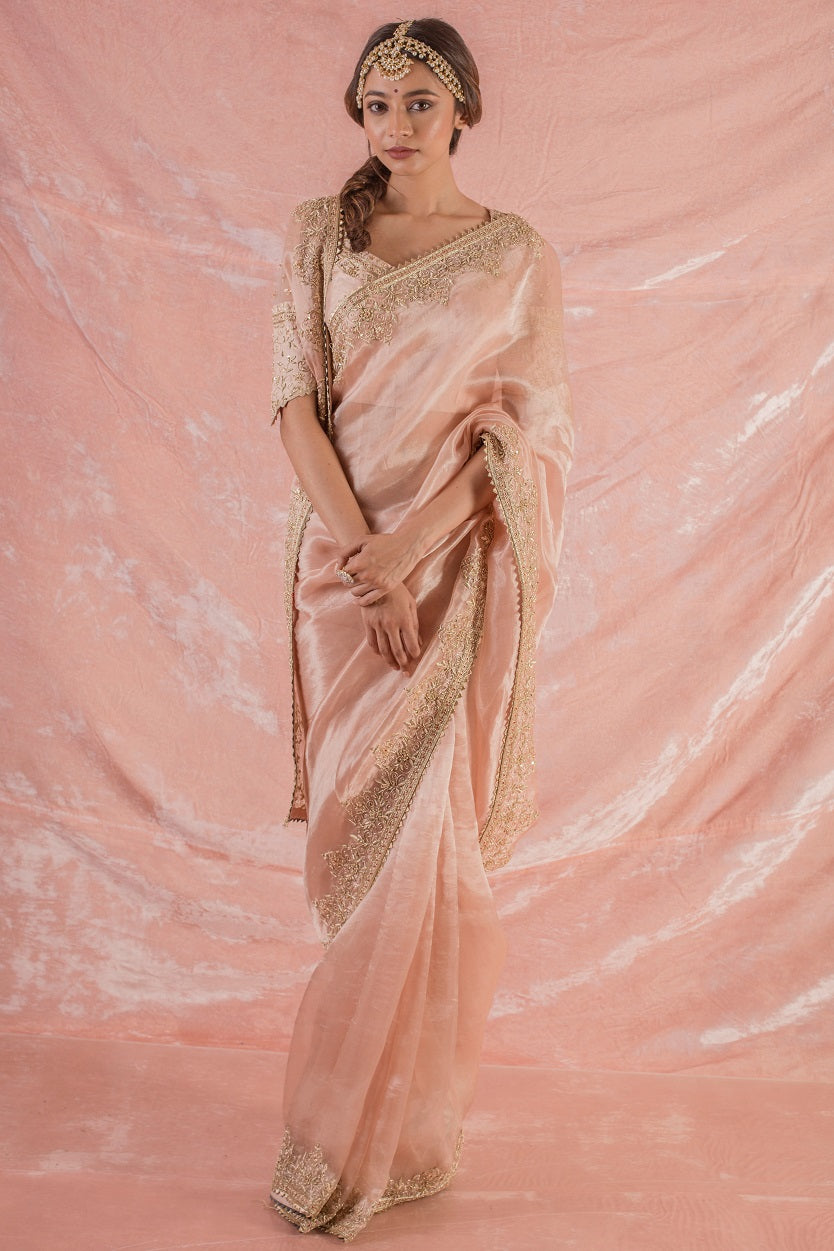 Pastel Pink Embroidered Tissue Saree with Blouse Online in USA-full view