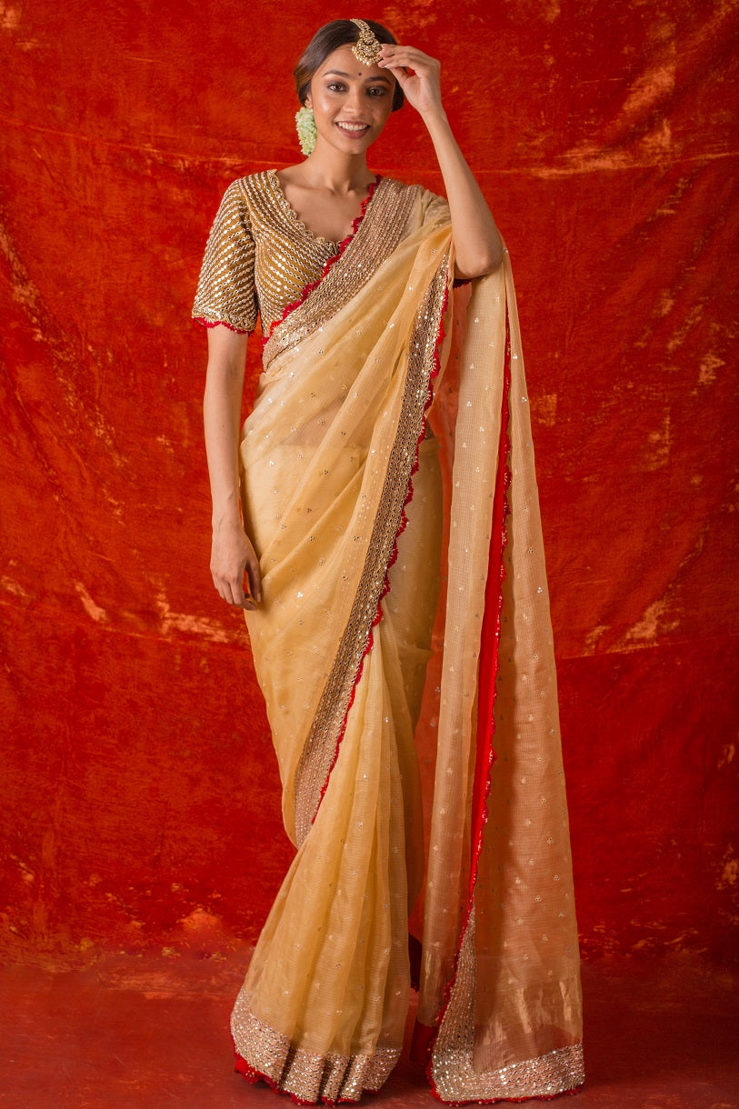 Orange Embroidered Handloom Saree with Blouse Online in USA-full view
