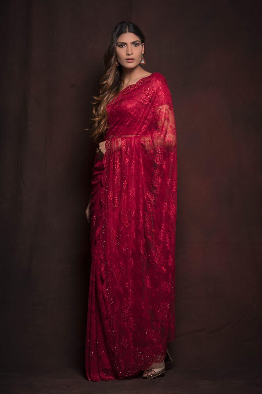 Shop gorgeous red lace saree online in USA. Be the talk of parties and weddings with exquisite designer sarees, embroidered sarees, pure silk saris, handwoven sarees from Pure Elegance Indian clothing store in USA.Shop online now.-full view