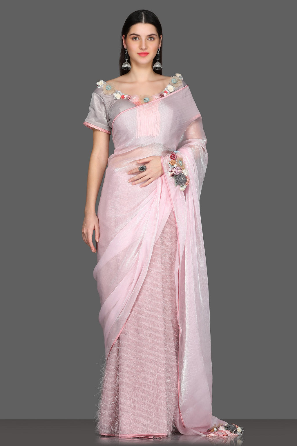 Buy charming powder pink half and half feather saree online in USA with sari blouse. Make a fashion statement at weddings with stunning designer sarees, embroidered sarees with blouse, wedding sarees, handloom sarees from Pure Elegance Indian fashion store in USA.-full view
