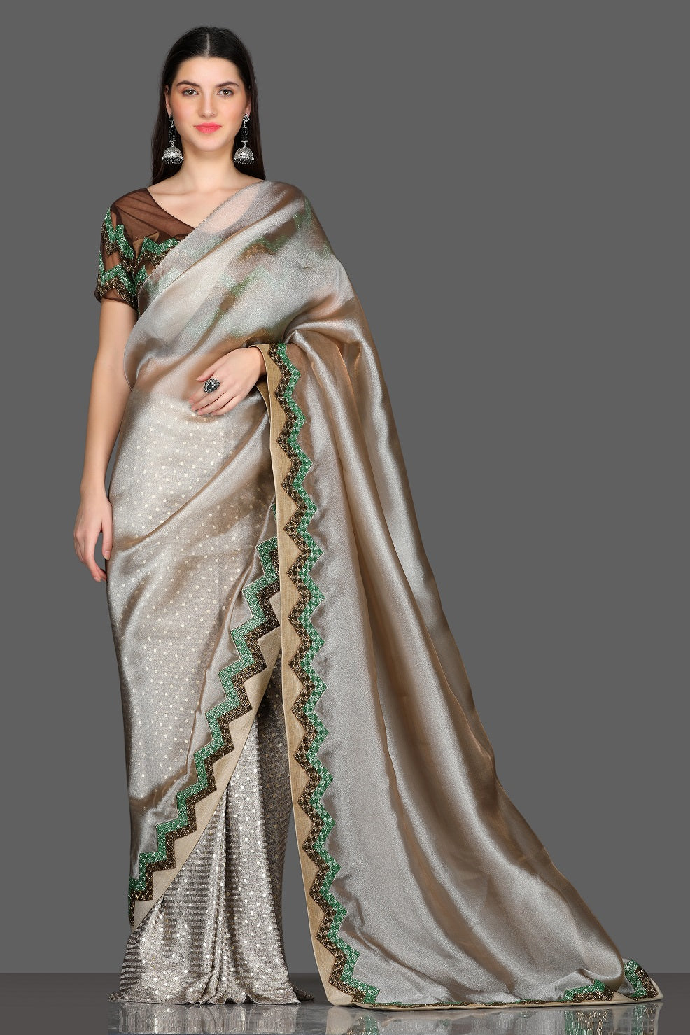 Shop beautiful golden embroidered border organza saree online in USA with embroidered saree blouse. Make a fashion statement at weddings with stunning designer sarees, embroidered sarees with blouse, wedding sarees, handloom sarees from Pure Elegance Indian fashion store in USA.-full view