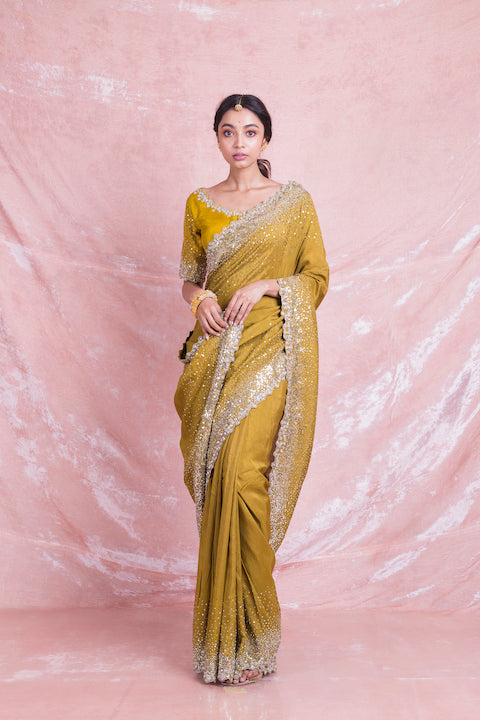 Buy beautiful mustard color embroidered mysore silk sari online in USA with embroidered saree blouse. Champion ethnic fashion on weddings and festivals with a stunning collection of designer sarees, handloom sarees with blouse, wedding sarees, from Pure Elegance Indian fashion store in USA.-full view