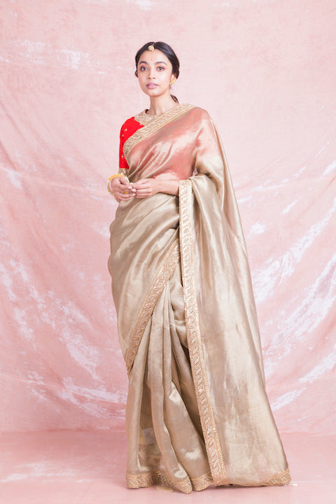 Buy beautiful golden embroidered handloom saree online in USA with red embroidered saree blouse. Champion ethnic fashion on weddings and festivals with a stunning collection of designer sarees, handloom sarees with blouse, bridal sarees, from Pure Elegance Indian fashion store in USA.-full view