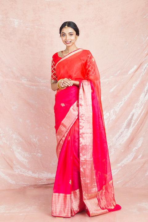 Shop charming red and pink embroidered handloom saree online in USA with red embroidered sari blouse. Champion ethnic fashion on weddings and festivals with a stunning collection of designer sarees, handloom sarees with blouse, bridal sarees, from Pure Elegance Indian fashion store in USA.-full view
