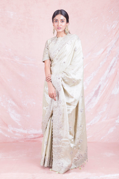 Buy beautiful cream embroidered handloom saree online in USA with matching embroidered sari blouse. Champion ethnic fashion on weddings and festivals with a stunning collection of designer sarees, handloom saris with blouse, wedding sarees, from Pure Elegance Indian fashion store in USA.-full view