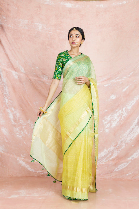 Shop beautiful ombre yellow handloom saree online in USA with green bandhej sari blouse. Champion ethnic fashion on weddings and festivals with a stunning collection of Banarasi sarees, handloom sarees with blouse, bridal sarees, from Pure Elegance Indian fashion store in USA.-full view