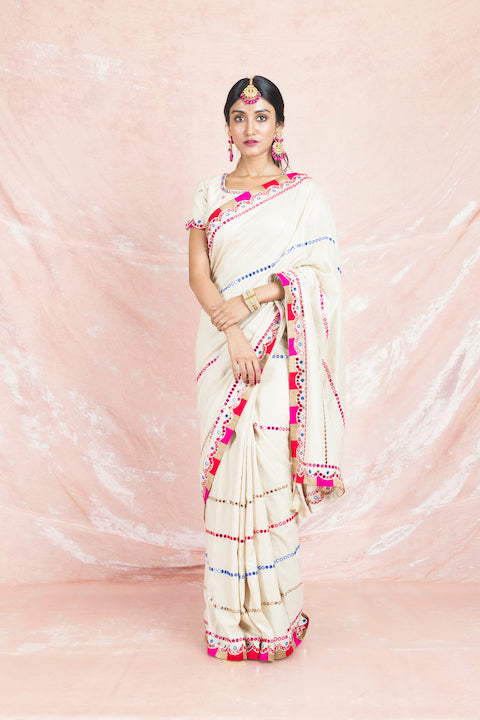 Shop cream mirror work handloom tussar saree online in USA with saree blouse. Champion ethnic fashion on weddings and festivals with a stunning collection of designer sarees, handloom saris with blouse, wedding sarees, from Pure Elegance Indian fashion store in USA-full view