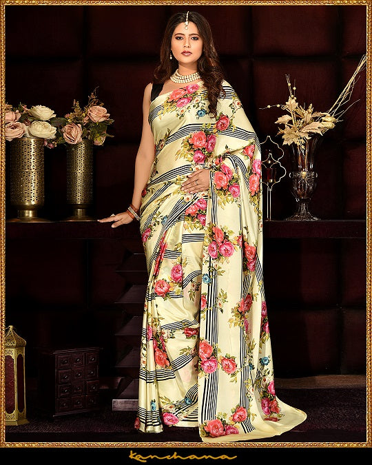 Buy stunning light yellow floral digital print satin georgette saree online in USA. Make a fashion statement at weddings with stunning designer saris, embroidered sarees with blouse, wedding sarees, handloom sarees, printed sarees from Pure Elegance Indian fashion store in USA.-full view