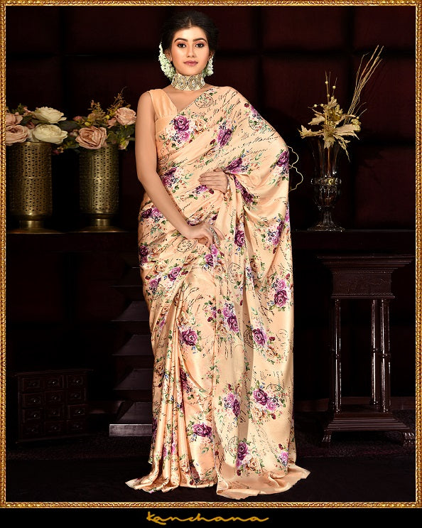 Shop beautiful peach digital print satin georgette sari online in USA. Make a fashion statement at weddings with stunning designer saris, embroidered sarees with blouse, wedding sarees, handloom sarees, printed sarees from Pure Elegance Indian fashion store in USA.-full view