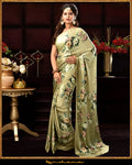 Buy stunning olive green floral satin georgette sari online in USA. Make a fashion statement at weddings with stunning designer sarees, embroidered sarees with blouse, wedding sarees, handloom saris, printed sarees from Pure Elegance Indian fashion store in USA.-full view